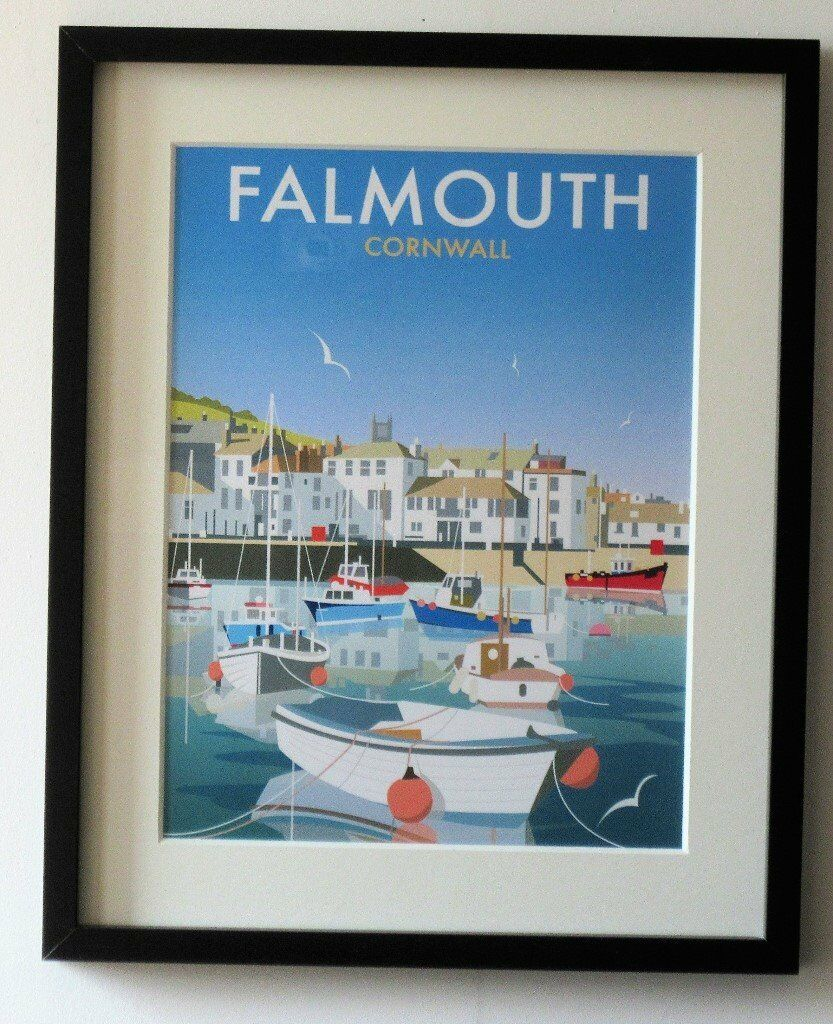 Falmouth Cornwall print in a 20 x 16-inch black frame. | in Newquay ...