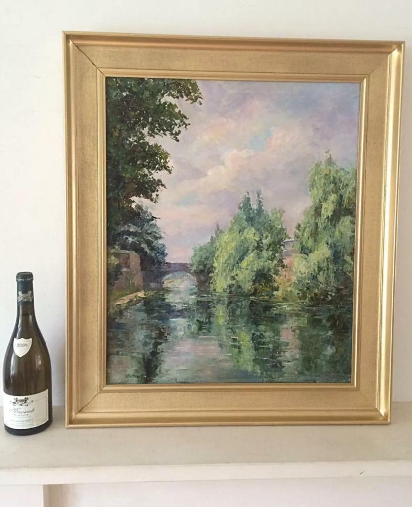 Vintage Oil Painting Grand Union/Regent\'s Canal Gilt Wood Frame ...