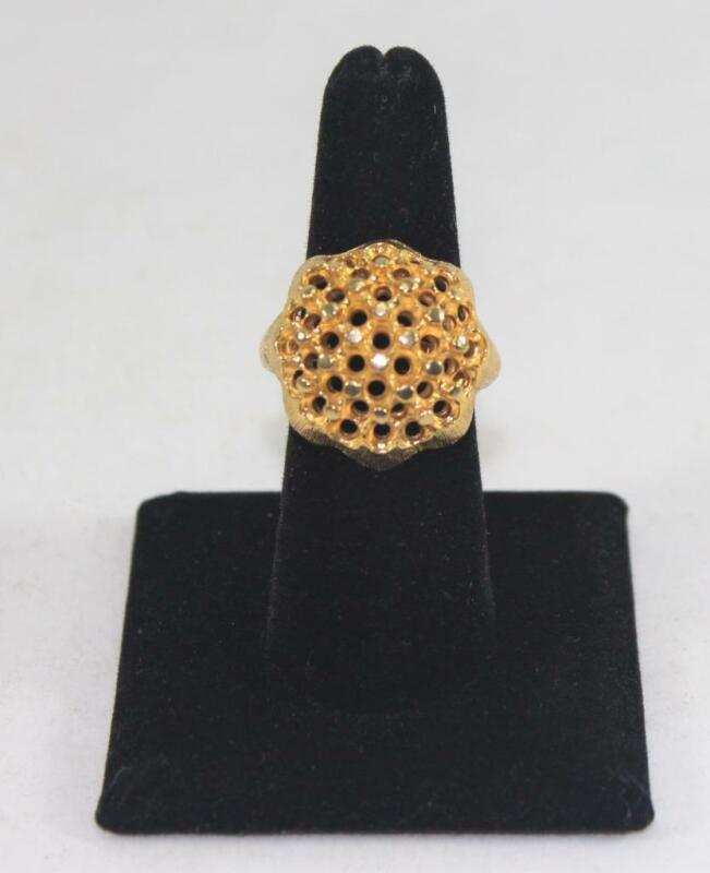 Vintage SHP Ladies Brushed Gold Tone Cocktail Ring Costume Jewelry Size 8