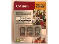 CANON (2) 210XL BLACK (1) 211 COLOR VALUE PACK NEW UNUSED SEALED GENUINE