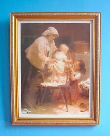 "John Morgan painting peep boo babies FRAMED PRINT H 20"" x W 15.75"" great frame"