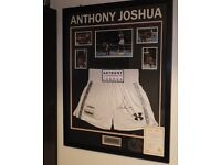 Framed Anthony Joshua World Champion Signed Trunks and Certificate of Authenticity boxing memorabili