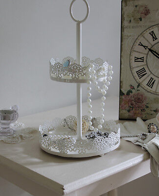 Two tier cake style stand tray jewellery vanity shop display shabby vintage chic