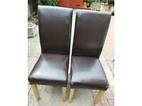 2 x brown dining chairs