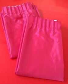 Bright pink faux silk lined curtains (two pairs)