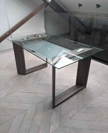 FREE SAME-DAY DELIVERY - Dark Oak Glass Top Dining Table