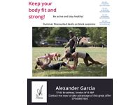 Personal trainer outdoor fitness instructor Summer discounts on block bookings