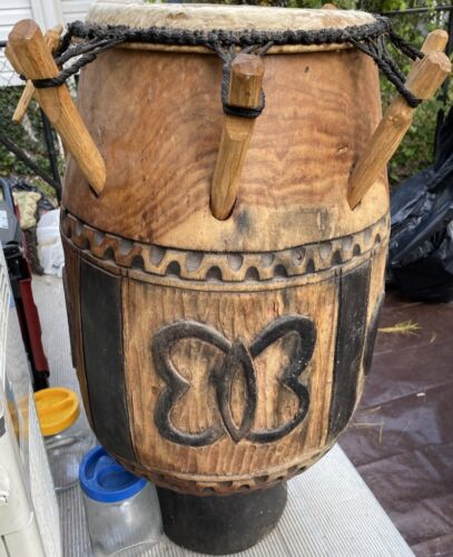 Large Hand-Carved Atumpan Talking Drum with two sticks mallets Ghana West Africa