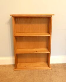 """Pine Bookcase with Two Fixed Shelves H38""""/96cm W27""""/68cm D8""""/20cm"""