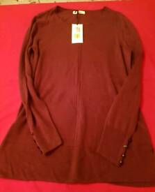 M&S BNWT classic jumper in mulberry size 10