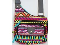 Women's / Girl's Multi Coloured Geometric Pattern Messenger Bag By Lily Bloom