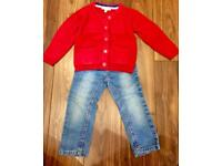 Girls Jeans and red warm cardigan outfit Age 2-3