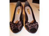 Zara chocolate brown satin peeptoe court shoes UK5