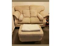2 SEATER CREAM SOFA WITH FOOT STOOL