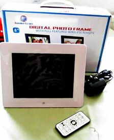 "NEW KOOLERTRON DIGITAL PHOTO FRAME. 8"" WITH FULL FEATURED WIRELESS REMOTE."