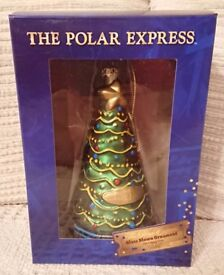 RARE WB THE POLAR EXPRESS GREEN GLASS ORNAMENT CHRISTMAS TREE ORNAMENT NEW RARE
