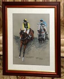 Original pastel picture based on The Grand National of 1998 showing the winner Earth Summit