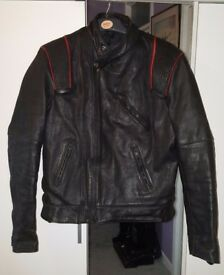 Bikers, Vintage KETT Motorcycle Leather Jacket UK 46 inch with red piping
