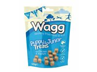 14 pks of Wagg Puppy & Junior Dog Training Treats, chicken & yoghurt flavour (in 2 boxes of 7 pks)