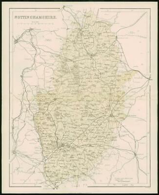 1868 - Original Colour Antique Map of NOTTINGHAMSHIRE by W Hughes (FC32)