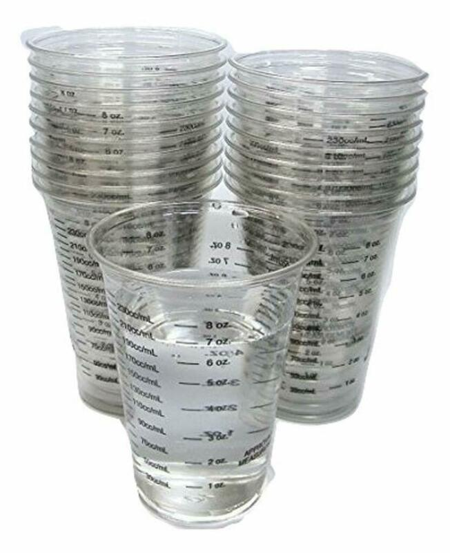 20 8oz disposable graduated clear plastic cups