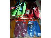 canvas shoes size 5 £7 (green and red) size 5.5 £7.50 (burgundy and blue) or all 4 pairs for £12.50