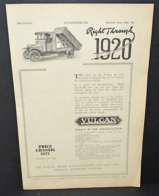Old 1920 Motoring Magazine Car Sales Advertisment -  The Vulcan Commercial Truck