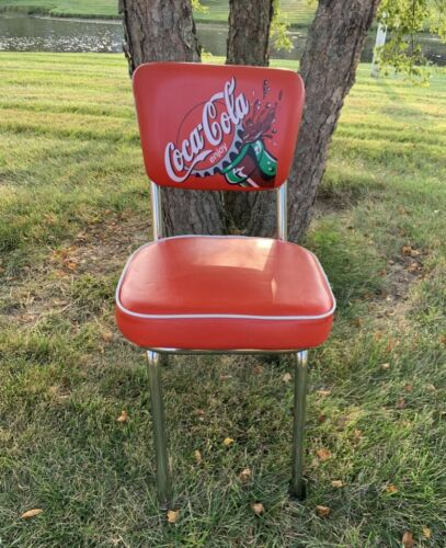 Vintage Coca-Cola Padded Upright Seating Chrome Chair