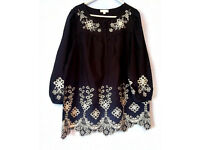 GHARANI STROK EMBROIDERED TUNIC BLOUSE size 14