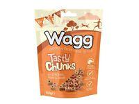 Box of 7pks of Wagg Tasty Chunks Dog Treats with Chicken, Ham & Beef