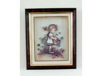 3-D Sketch Images of Children Gathering Flowers in Sturdy Wood and Glass Frames (Set of 3)