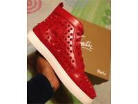 Louboutins leather studded spikes sneakers HiTops