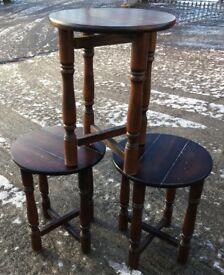 THREE VINTAGE DROP-LEAF SIDE TABLES