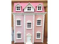 Pink & white fully furnished dolls house, three stories...