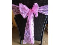 Pretty Pink Lace Bow Chair Sash Wedding Banquet Party - sold in packs of 15