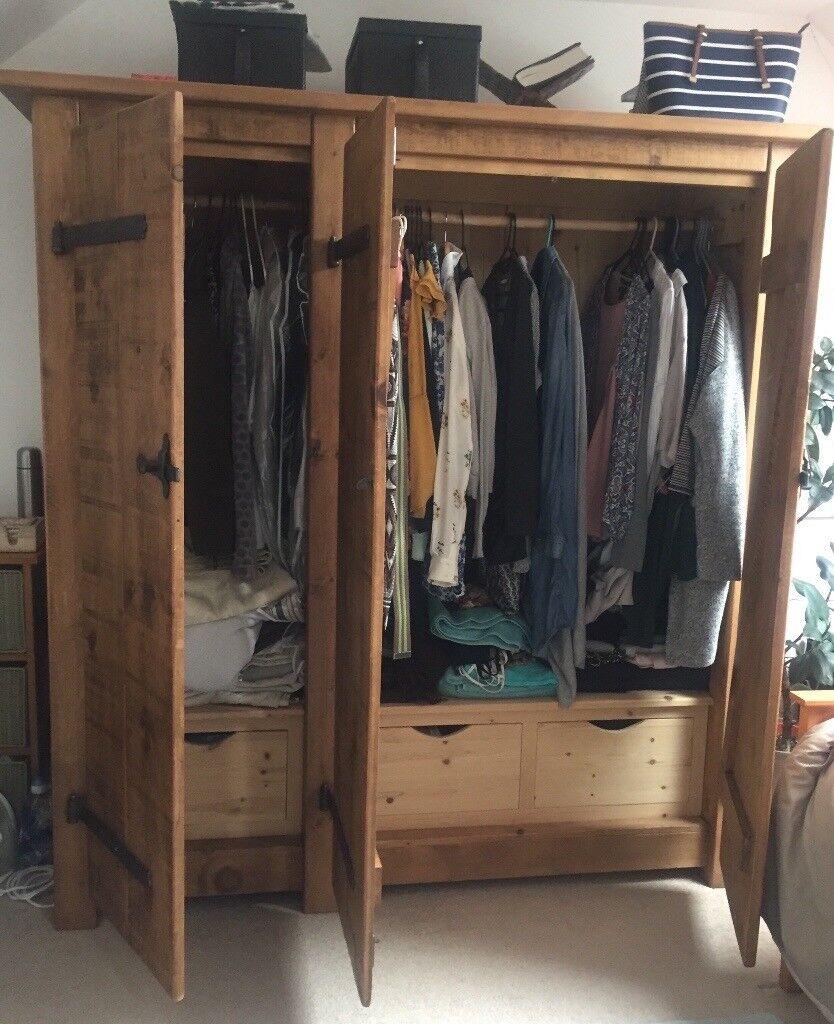 Triple Wardrobe, Rustic, Plank Wood, Indigo Furniture