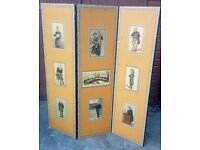 Three panel antique/vintage screen decorated with prints medical screen.
