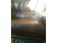 Brown Real Leather Sofa - 2 seater