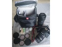 Canon camera with bag and accessories