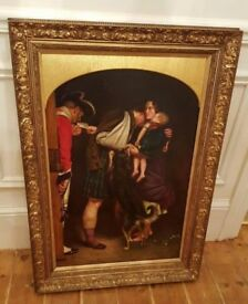 antique 19th century oil painting in original frame . signed front and back by listed artist