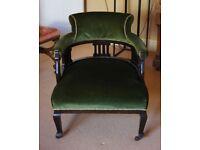 Antique Green Velvet Armchairn - reupholstered.