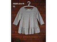 Maternity clothes bundle 12 14 / H&M linen blend striped top with frill size M generous