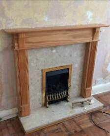 Marble and wooden fire surround