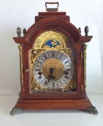 Dutch Oak Westminster, Franz Hermle 8 day half moon face windup bracket clock,