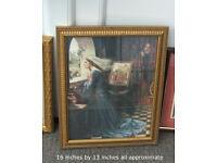 3 Pre Raphaelite framed pictures, nice old frames