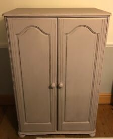 Shabby Chic Solid Pine Small Wardrobe Annie Sloan Paloma Chalk Paint