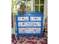 Vintage Large Solid Oak Vibrant Blue Chest of Drawers with Floral Antique Harts
