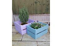 2 Timber Crates ~ Scottish Heather & Duck Egg Blue