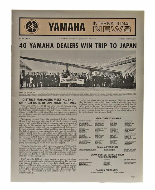 1966 Yamaha Motorcycle International News 16 pg Volume 2 No.8 Magazine Brochure