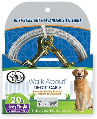 Four Paws Walk About Steel Heavy Weight Dog Tie Out Cable, 20 Ft. (Four Paws Cable Tie)